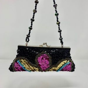 Multicolor Clutch Purse with Sequins & Bead Detail